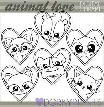 Valentine Clip Art Animal Love - Blackline Clipart