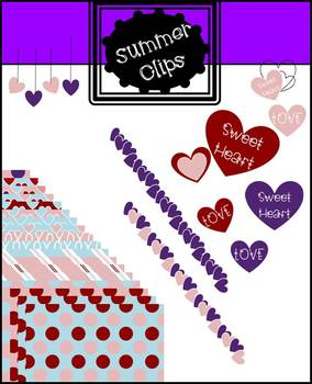 Valentine Clip Art Background, Papers, and Hearts