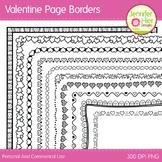 Valentine Clip Art Page Border Frames: Black and White Dig