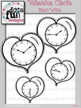 Valentine Clocks: 5 Minute Intervals- Black/White ~Dots of