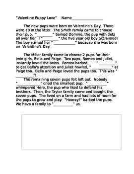 Valentine Cloze Story Activity