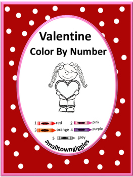 Valentine's Day Color by Number NO PREP Worksheets for Mat