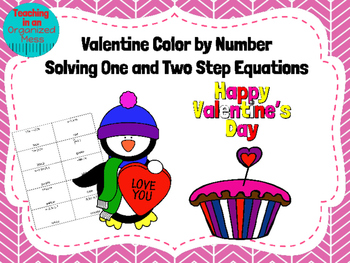 Valentine Color by Number--Solving One and Two Step Equations