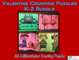 Valentine Counting Puzzles K-2 BUNDLE