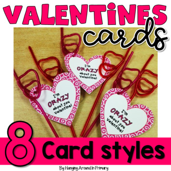 Valentine Crazy Straw Tags - Heart Cards to Celebrate Vale