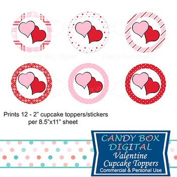 Valentine Cupcake Toppers / Stickers