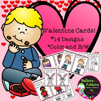 Valentine Day Cards-14 designs-color and b/w