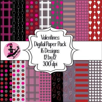 Valentine Digital Paper- 16 Designs- 12 by 12- 300 dpi