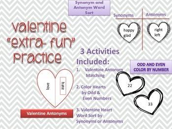 Valentine Extra Fun Practice - Synonyms & Antonyms and Odd