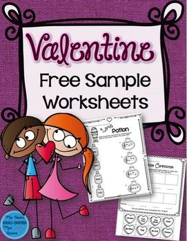 Valentine FREE SAMPLE Worksheets