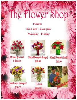 Valentine Flower Shop Sign for Dramatic Play House keeping