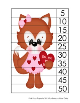 Valentine Fox Number Counting Strip Puzzles - 5 Designs -