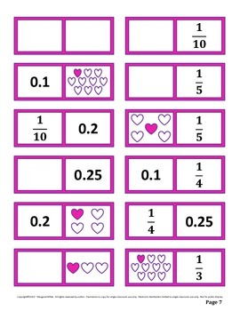 Valentine Fraction, Decimal, and Percent Dominoes