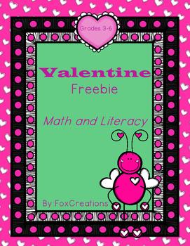 Valentine Freebie Printables Math and Literacy