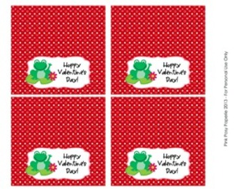 Valentine Frog Class Large Treat Bag Toppers