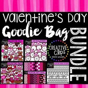 Valentine Clipart Goodie Bag Bundle {Creative Clips Clipart}