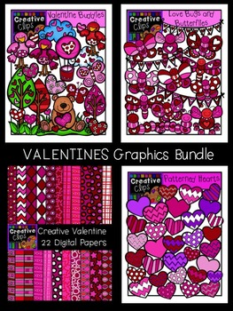 Valentine Clipart Graphics Bundle {Creative Clips Clipart}