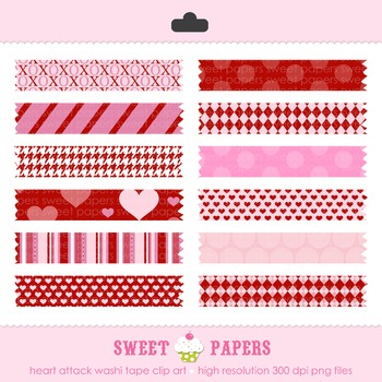 Valentine Heart Attacke Washi Tape Digital Clip Art Set -