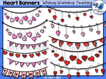 Valentine Heart Banners Clip Art - Whimsy Workshop Teaching