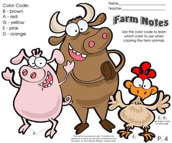 Farm Notes - Color by Note D, E, B, A, G