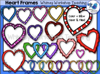 Valentine Heart Frames Clip Art - Whimsy Workshop Teaching