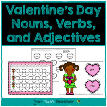 Valentine's Day Heart Nouns, Adjectives, and Verbs - Cente
