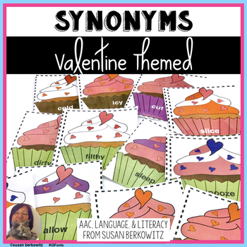 Valentine Heart Synonym Cards for Speech Therapy or ELA Vo