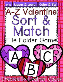 Valentine Hearts Alphabet Sort & Match File Folder Game {P