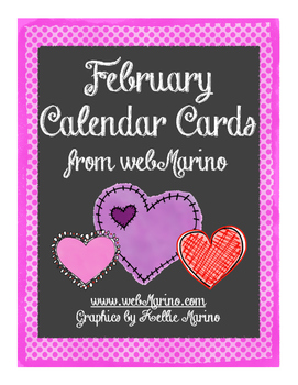 Valentine Hearts February Calendar Cards