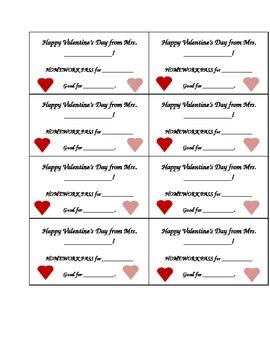 Valentine Homework Pass Cards