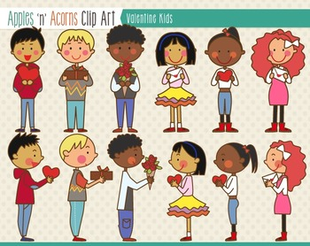 Valentine Kids Clip Art - color and outlines
