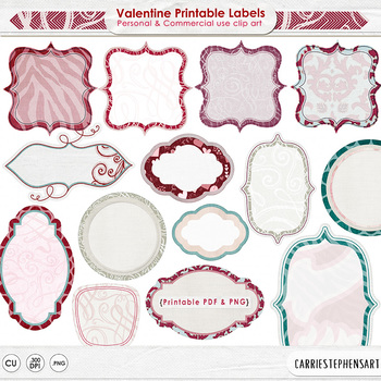 Valentine Labels - Printable Label ClipArt - Red, Pink & Teal
