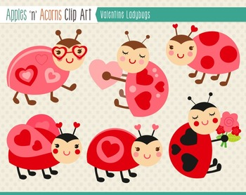 Valentine Ladybugs Clip Art - color and outlines