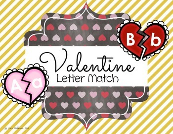 Valentine's Day Upper and Lowercase Letter Match