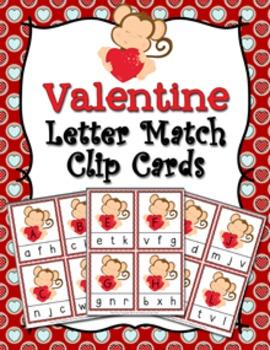 Valentine Letter Match Clip Cards