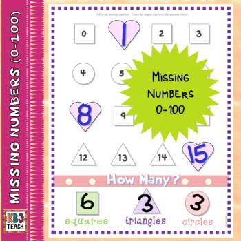 Valentine's Day Math: Number Line Missing Numbers (1-100)