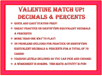 Valentine Match Up! Equivalent Decimals & Percents