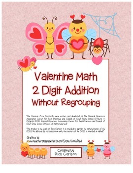 """""""Valentine Math"""" 2 Digit Addition Without Regrouping Commo"""