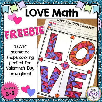 Math Art LOVE Activity Geometric Shapes Coloring Fun {Grad