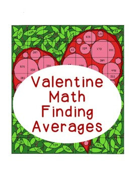 Valentine Math Finding Averages Activity Averaging Heart C