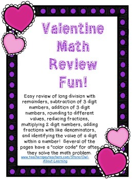 Valentine Math Review (multiply, divide, add, subtract, fr
