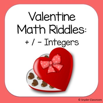 Valentine Adding and Subtracting Integers Math Riddles