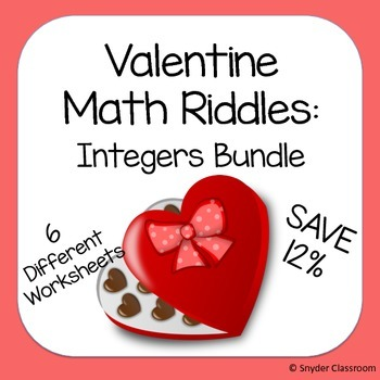 Valentine Integers Math Riddle Bundle