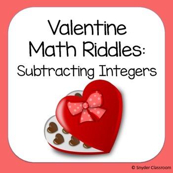 Valentine Subtracting Integers Math Riddles