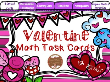 Valentine Math Task Cards 1st Grade: Time, Money, Addition