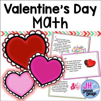 Valentine Math - 2 and 3 Digit Addition and Subtraction -