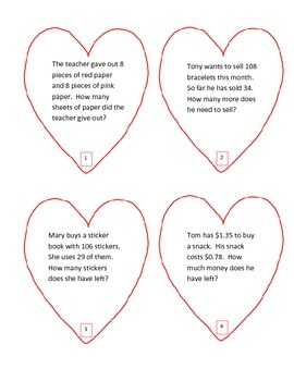 Valentine Math Word Problems (Great for Grade 2 Expression