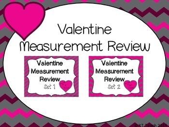 Valentine Measurement Review Task Cards (1st Grade Common Core)