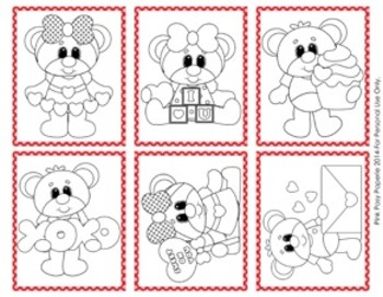 Valentine Mini Coloring Page Cards