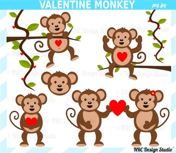 Valentine Monkey Clip Art for Personal and Commercial Use